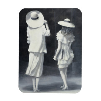 Mother and Daughter Outside a Restaurant Rectangular Photo Magnet