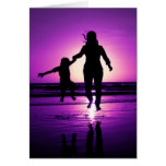 Mother and son Child Beach Jumping Greeting Card