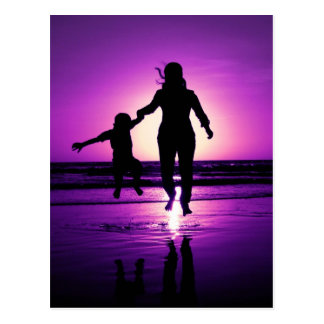 Mother and son Child Beach Jumping Postcard