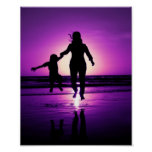 Mother and Son Child Beach Jumping Posters