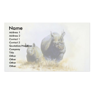 Mother and son, Rhinoceros Business Card Template