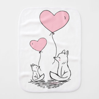 Mother and sound fox holding heart balloon burp cloth