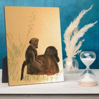 Mother & Baby Baboons - Wildlife Monkeys Primates Plaque