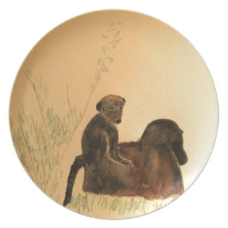 Mother & Baby Baboons - Wildlife Monkeys Primates Plate