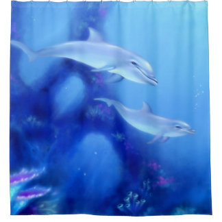 Mother & Baby Dolphins Shower Curtain