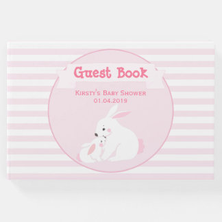 Mother & Baby Girl Bunny | Baby Shower Guest Book
