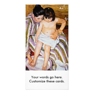 Mother bathing child bath art by Mary Cassatt Personalized Photo Card