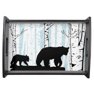 Mother Bear and Cub Birch Blue Sky Serving Tray
