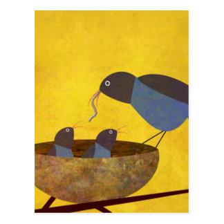 Mother Bird and Babies Postcard