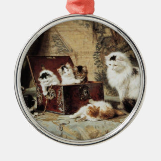 Mother Cat and Kittens by Henriette Ronner-Knip Metal Ornament