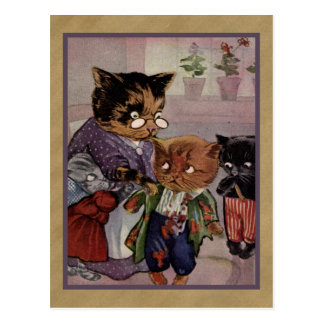 Mother cat and naughty kittens postcard