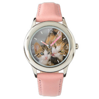 Mother Cat Loves Cute Baby Kitten Photo dial-plate Watch