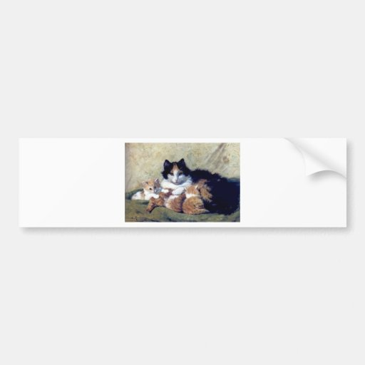 Mother Cat with Kittens painting Bumper Stickers