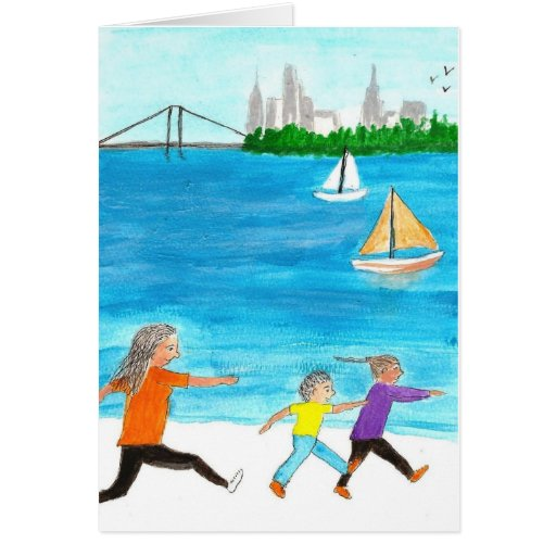 Mother chasing her two kids on beach card