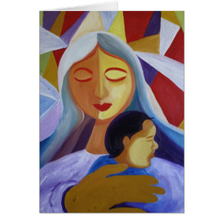 Mother & Child in Cubism World Card