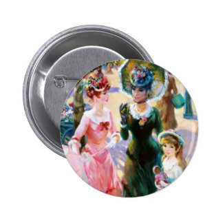 Mother & Child Street Scene Mother's Day Card 6 Cm Round Badge