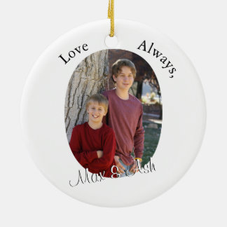 Mother & Child with Custom Text & Oval Photo Frame Ceramic Ornament