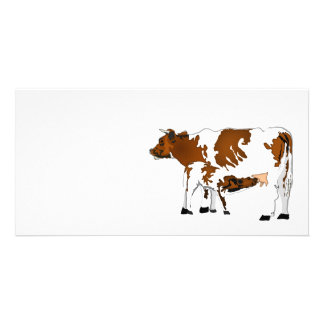 Mother Cow with Calf Photo Card Template