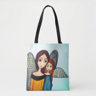 Mother Daughter Angels Tote Bag Red Haired Angel