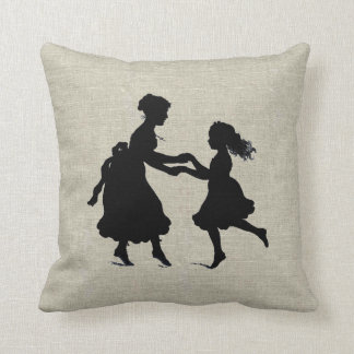 Mother & Daughter Holding Hands Dancing Throw Pillow