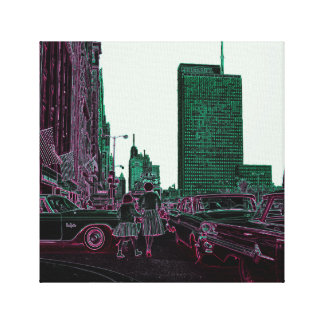 Mother Daughter Shopping Michigan Ave Chicago 1961 Canvas Print