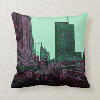 Mother Daughter Shopping Michigan Ave Chicago 1961 Cushion