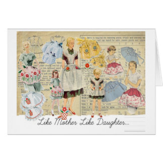 Mother Daughter Vintage Aprons Card