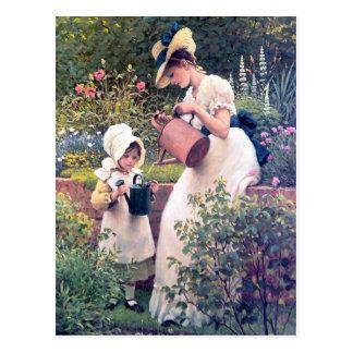 Mother Daughter Watering flowers painting Postcard