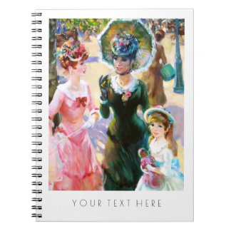 Mother & Daughters Painting Fine Art Gift Notebook