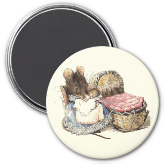Mother Dormouse and her Child 7.5 Cm Round Magnet