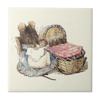Mother Dormouse and Her Child Small Square Tile
