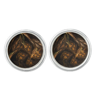 Mother Earth Abstract Art Silver Plated Cufflinks