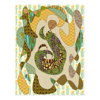 Mother Earth Abstract Illustration Animal Patterns Postcard