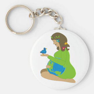 Mother Earth (Gaia) Basic Round Button Key Ring