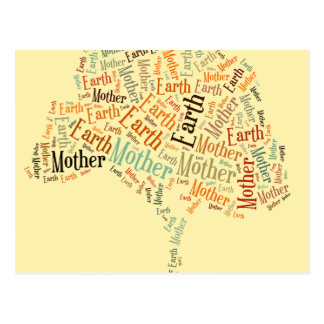 Mother Earth Word Cloud in Shape of Tree Postcard