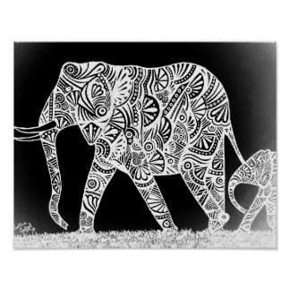 Mother Elephant Poster