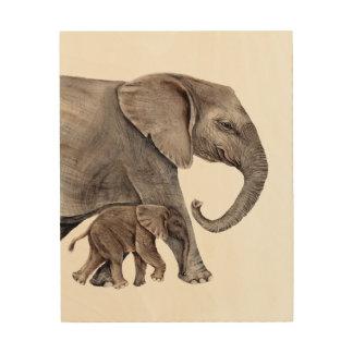 Mother Elephant with Baby Elephant Wood Wall Art