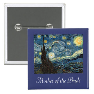 Mother/father of the bride/groom Starry Night 15 Cm Square Badge