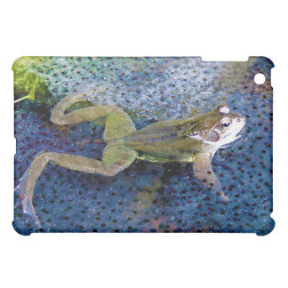 Mother Garden Frog in a Pond of her Frogspawn iPad Mini Cover