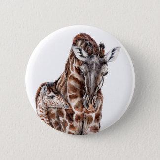 Mother Giraffe with Baby Giraffe 6 Cm Round Badge