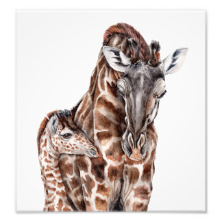 Mother Giraffe with Baby Giraffe Art Print