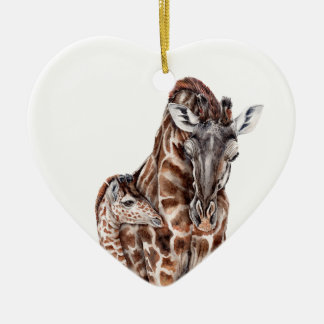 Mother Giraffe with Baby Giraffe Ceramic Heart Decoration