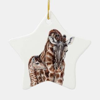 Mother Giraffe with Baby Giraffe Ceramic Star Decoration