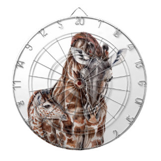 Mother Giraffe with Baby Giraffe Dartboard