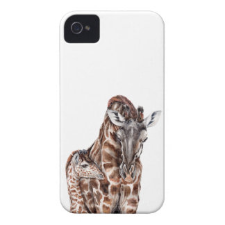 Mother Giraffe with Baby Giraffe iPhone 4 Case-Mate Case