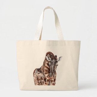 Mother Giraffe with Baby Giraffe Large Tote Bag
