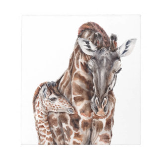 Mother Giraffe with Baby Giraffe Notepad
