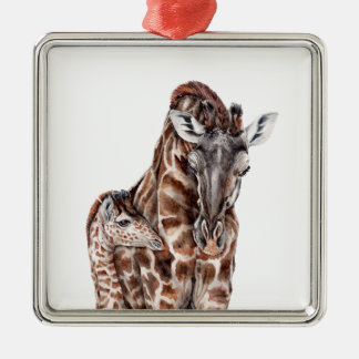 Mother Giraffe with Baby Giraffe Silver-Colored Square Decoration