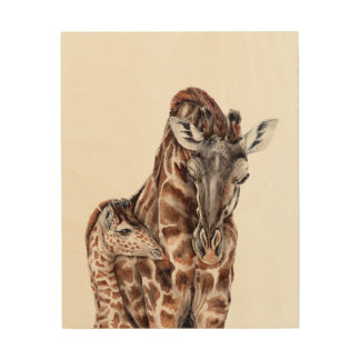 Mother Giraffe with Baby Giraffe Wood Print
