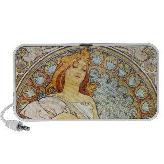 Mother Goddess Art Nouveau Portable Speakers